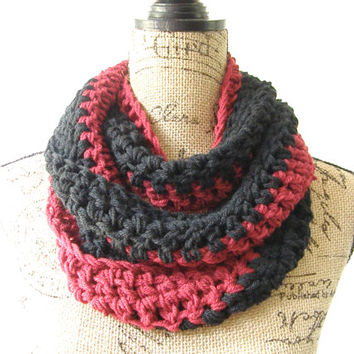 Ready To Ship Crochet Garnet Black Dark Red NFL, NHL Hockey Football Team Colors Infinity Scarf Unisex Scarf Men's Scarf Gamcocks 146