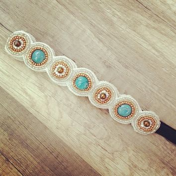 Turquoise/Gold/Ivory Beaded Headband