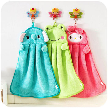 Baby Nursery Hand Towel baby bath towels Toddler Soft Plush Cartoon Animal Wipe Hanging Bathing Towel