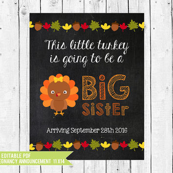 Big sister Thanksgiving pregnancy announcement - pregnancy announcement idea - Thanksgiving // DIY edit with ADOBE READER