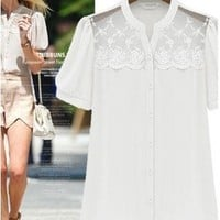 Front Clear Lace Chiffon Blouse