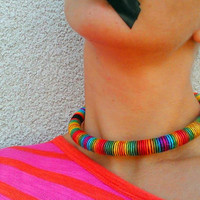 Dani, Choker, Colorful Necklace, African Necklace, Rope Necklace, Choker Necklace, Rasta Necklace, African Jewelry, Fabric Necklace, For Her