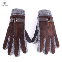 Stylish Mens Winter Gloves Guantes Black Coffee Khit Gloves For Male Luxury Leather Thermal Gloves Christmas