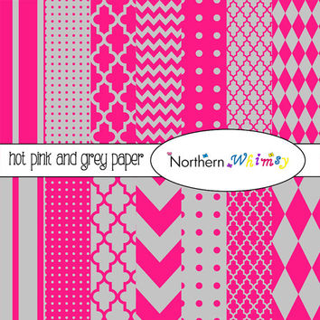 Hot Pink and Gray Digital Paper Pack – scrapbook papers in stripes, chevron, polka dot, harlequin, & quatrefoil – instant download – CU OK