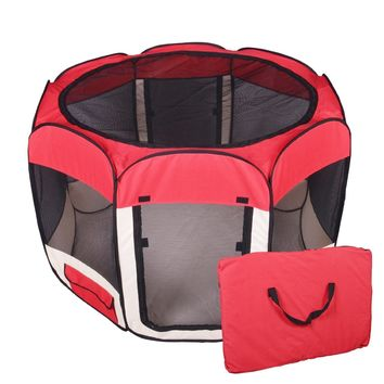 New Red Medium Pet Dog Cat Tent Playpen Exercise Play Pen Soft Crate T08M