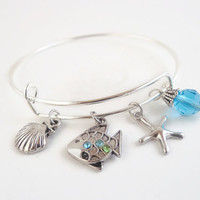 Beach Girl Jewelry ~ Beach bracelet , Beach Jewelry , Beach Gifts ,  Beach Charm Bracelet , Alex and Ani Inspired , Summer Jewelry