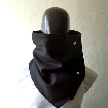 Men scarf. Extra Wide,all black cowl,  Black wool with metalic  snaps. Trendy, modern, chunky  and cozy.