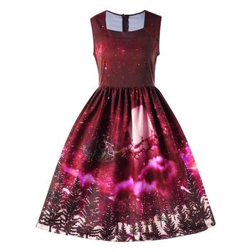Dress Women vestidos Ladies winter Sexy Dress Christmas Elk Snow Trees Printed Evening Party Vintage Dress