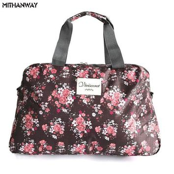ESB3F Women Lady Large Capacity Floral Duffel Totes Sport Bag Multifunction Portable Sports Travel Luggage Gym Fitness Bag 5 Colors