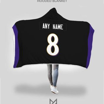 Baltimore Ravens Hooded Blanket - Personalized Any Name & Any Number