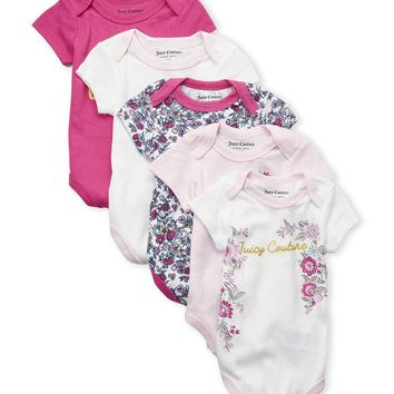 JUICY COUTURE Infant Baby Girl 5-Pk Floral Onesuit SET