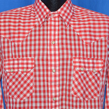 80s Dee Cee Red Gingham Pearl Snap Shirt Medium