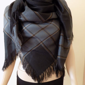 Black Blanket Scarf/black plaid scarf/black shawls/blanket scarfs/plaid scarf/black scarf/blanket scarf/Christmas gift