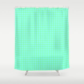 Green On Blue Plaid Shower Curtain by Moonshine Paradise