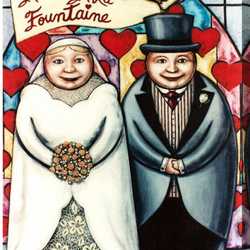 """""""Love From The Fountain- Wedding Art - Painting Print"""