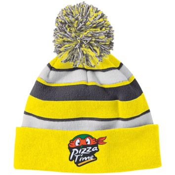 Pizza Time 223835 Holloway Striped Beanie with Pom