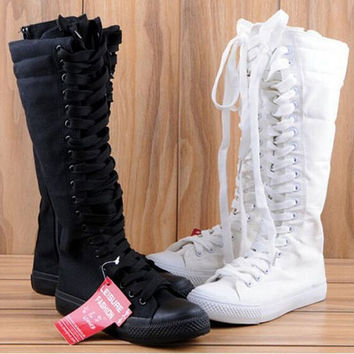 2017 New Women Boots Canvas Lace Up Knee High Boots Women motorcycle boots Flat Casual Tall Punk Shoes woman