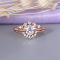 Moonstone engagement ring Rose gold Vintage Curved wedding band Women Diamond Antique Unique Pear shaped Bridal set Anniversary gift for her