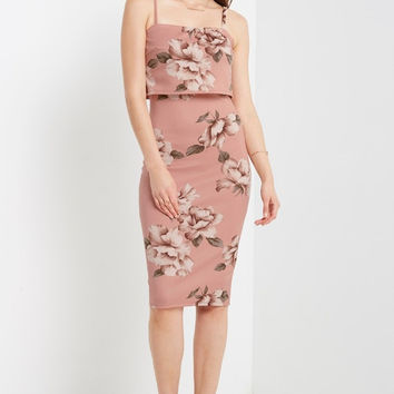 Ella Floral Bodycon Midi Dress