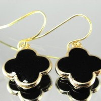 Clover Leaf Drop Earrings Onyx Black - Soft Rounded Edges