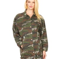 LE3NO Womens Oversized Ripped Long Military Camo Anorak Jacket with Pockets