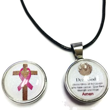 Dear God Prayer Cross Pink Ribbon Breast Cancer Awareness Support Cure Pendant Necklace  W/2 18MM - 20MM Snap Charms