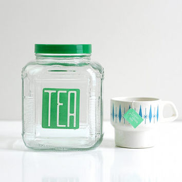 Vintage Glass Tea Canister - Retro Glass Tea Jar with Green Lid