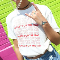 Red Letters White Short Sleeves T-shirt