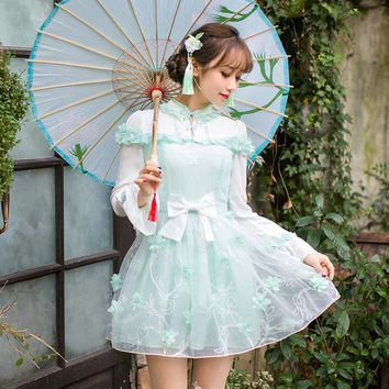 Princess sweet lolita dress Candy rain New Japanese sweet long sleeved Chinese style improved embroidered dress C22AB7007