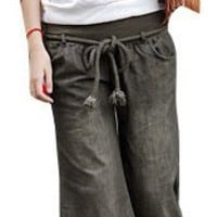 Allegra K Ladies Slant Pockets Casual Pants Loosen Trousers S