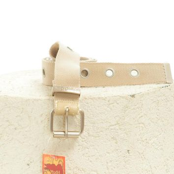 Vintage 90's Deadstock Tan Canvas Grommet Belt - One Size Fits Many