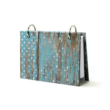 3 x 5 index card binder, weathered barn wood, baby blue polka dots and chevron, recipe binder, address book or contact information