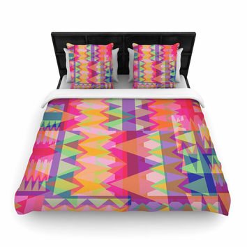 "Miranda Mol ""Triangle Fun"" Pink Multicolor Woven Duvet Cover"