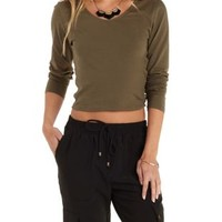 Caged-Side Long Sleeve Crop Top by Charlotte Russe