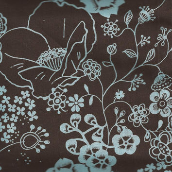 Brown and Blue Floral, Cotton Fabric, Brothers and Sisters by Hobby Lobby, 17 Inch Remnant piece