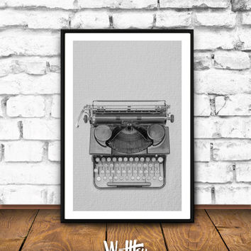 Typewriter print,  Black and White Typewriter, Retro typewriter, Typewriter gift, Modern Wall Art Decor, Minimalist Poster, Large Art Poster