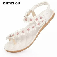 Free shipping The new shoes pinch summer 2016 In the summer clip toe flowers beach flat with Bohemian flat shoes