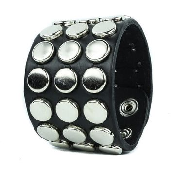"3 Row Silver Round Flat Studded Black Leather Wristband Cuff Bracelet 1-3/4"" Wide"