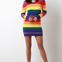 Colorful Stripe Long Sleeves Bodycon Mini Sweater Dress