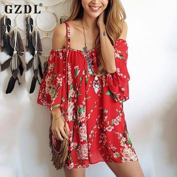 GZDL Sexy Floral Print Women Summer Beach Dress Off Shoulder Strap Casual Loose Thin Mini Chiffon Shirt Dresses Vestidos CL2912