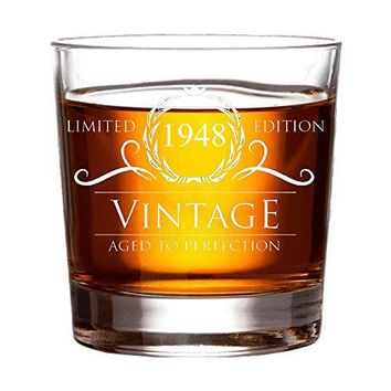 1948 70th Birthday Gifts for Women and Men Whiskey Glass  Funny Vintage Anniversary Gift for Him Her Dad Mom Husband or Wife 11 oz Whisky Bourbon Scotch Glasses Decorations