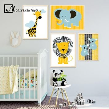 Cartoon Giraffe Lion Elephant Animal Posters and Prints Minimalist Wall Art Canvas Painting Nusery Wall Picture Baby Living Room