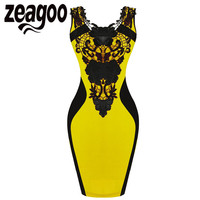 Zeagoo Women OL Dress Mini Sleevelss Lace Pencil Dress High Waist Floral Slim Short Bodycon Party Dress Women Work Wear Vestidos