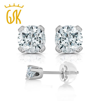 GemStoneKing 1/3 Ct Round Cut 14K White Gold Real Diamond Stud Earrings For Women Fine Jewelry