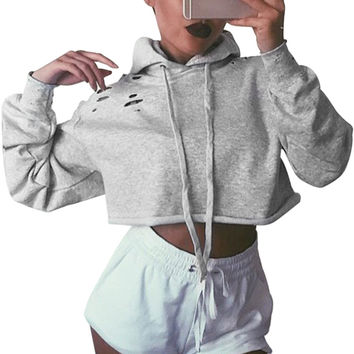 New Women Long Sleeve Hoodie Sweatshirt Fashion Casual Hooded Coat Hot Sale Pullover Sudaderas Sexy Womens Solid Crop Hoodie Top
