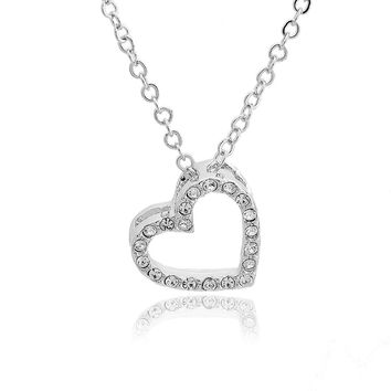 Crystal Embedded Open Heart Charm and Necklace