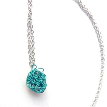 Turquoise Wire Crochet Necklace, Wire Crochet Jewelry, Wire Jewelry Handmade Jewellery