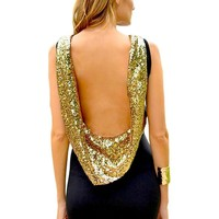 GALHAM - Spring Summer Halter Backless Sequin Bodycon Party Dress