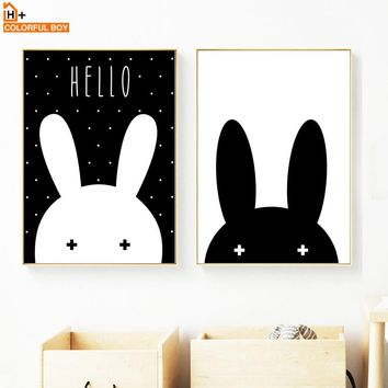 Black White Miffy Rabbit Wall Art Print Canvas Painting Nordic Poster Cartoon Wall Pictures For Living Room Kids Room Home Decor