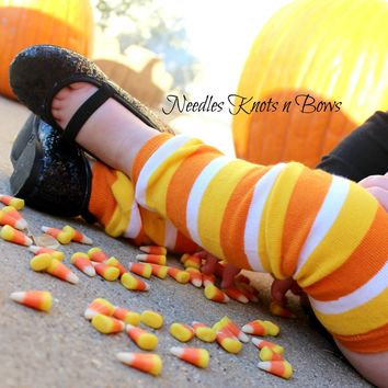 Candy Corn Legwarmers, Striped Legwarmers, Fall Legwarmers, Halloween Leg Warmers